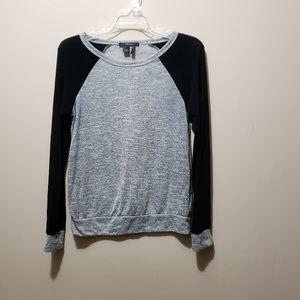 Black and Gray Raglan Long Sleeve Sweater